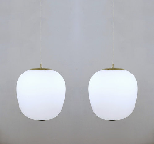 mid century pencant lights opaline