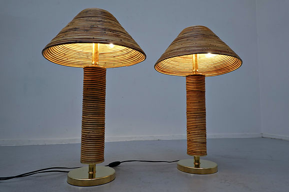 Pair of Contemporary Brass and Rattan Table Lamps