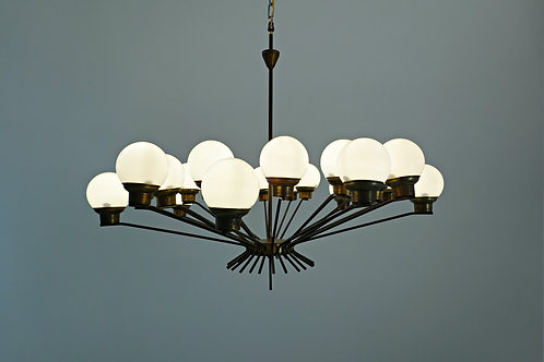 Mid Century Chandelier in Opaline and Brass