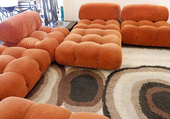 1970's orange camaleonda' sofa by mario bellini for b&b italia