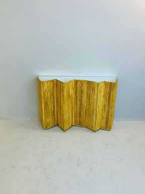 Rattan  and Glass Consol Table