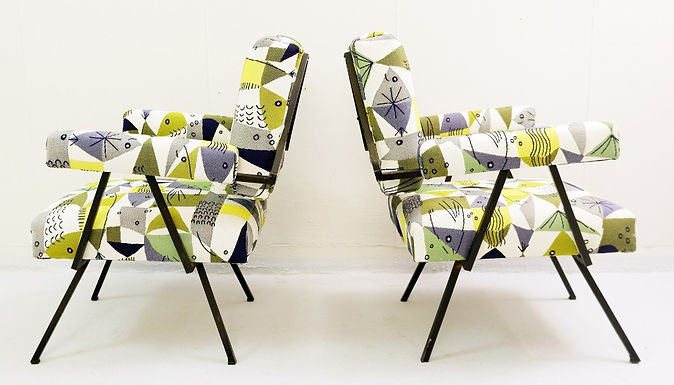 Pair of Mid Century Armchairs in Fishwoven Fabric (Italy)
