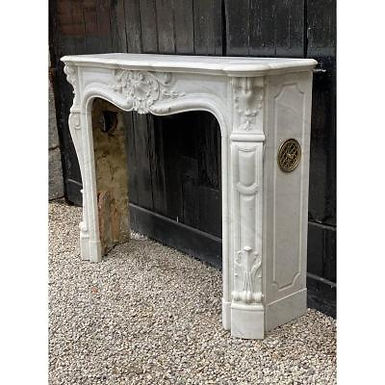 White Carrara Marble Fireplace int he Style of Louis XIV