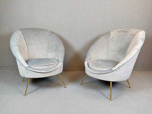 Mid Century Style Blue Armchairs Pair