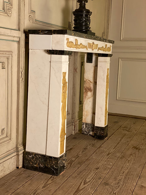 Marble Fireplace Egyptian Style Side View
