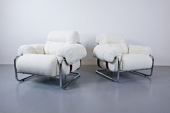 "Pair Of Italian ""Tucroma"" Armchairs By Guido Faleschini"