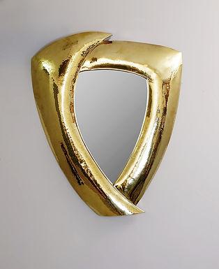 Contemporary Mirror in hammered brass