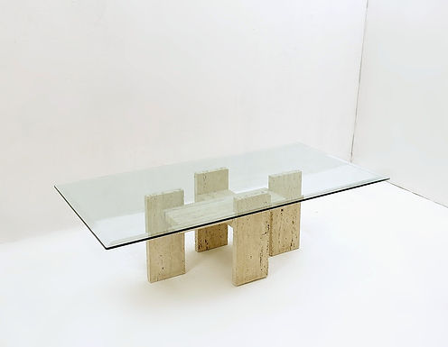 Brutalist Travertine Coffee Table From Willy Ballez, 1970s