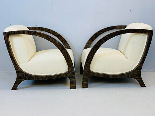 Pair of Art Deco Amrchairs Austro Hungary Side