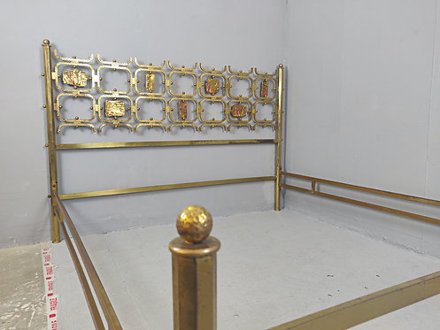 Mid Century Italian Brass Bed Wide