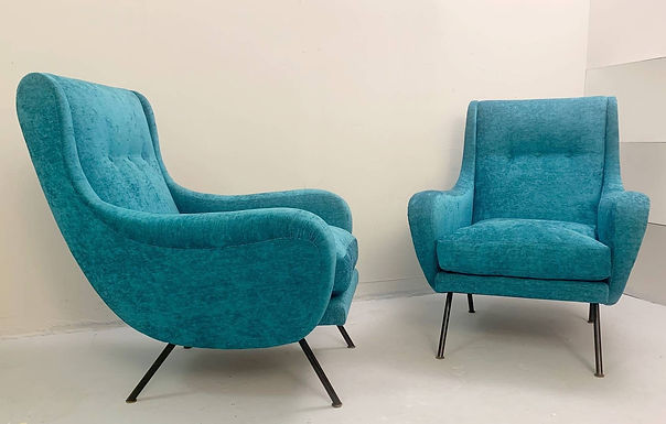 1950's Pair of Italian Turquoise Armchairs. New velveteen upholstery