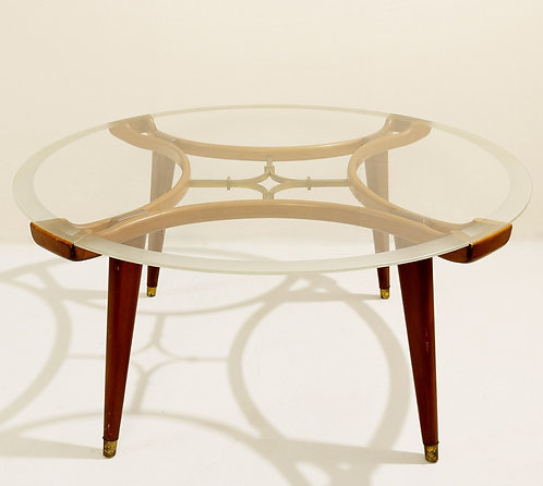 Mid Century Coffee Table, Walnut and Brass (France 1940's)