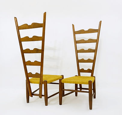 Pair of tall mid Century Chairs by Gio Ponti