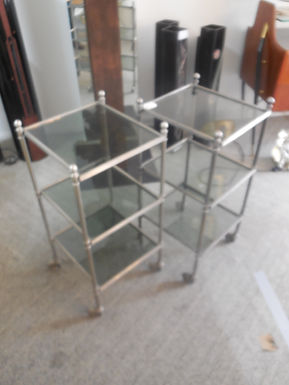 Pair of Mid Century Steel and Glass Side Tables
