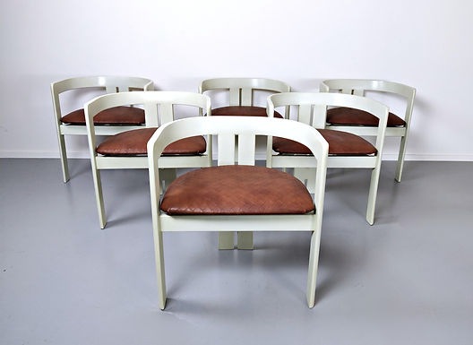 """Set Of 6 """"Pigreco"""" Chairs By Tobia Scarpa"""
