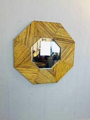 Hexagonal Rattan Frame Mirror