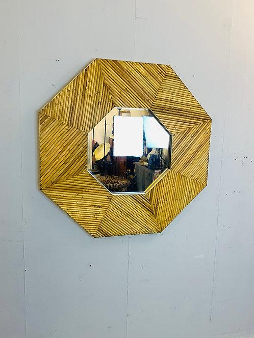 Rattan Hexagonal Mirror Wide