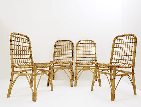 Set Of 4 Rattan Chairs 1960s