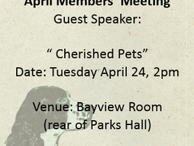 Cherished Pets at the April 24th meeting