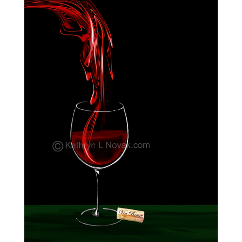 Red Wine - Vin Rouge 2, Open Edition Art Print