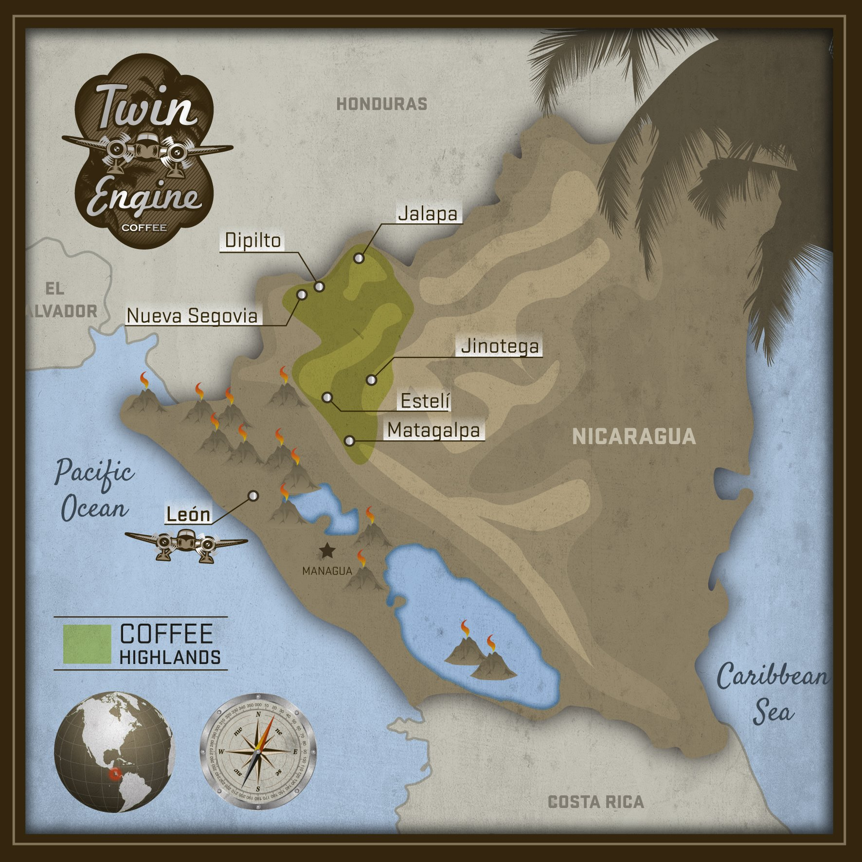 Map of Twin Engine Coffee Farmers