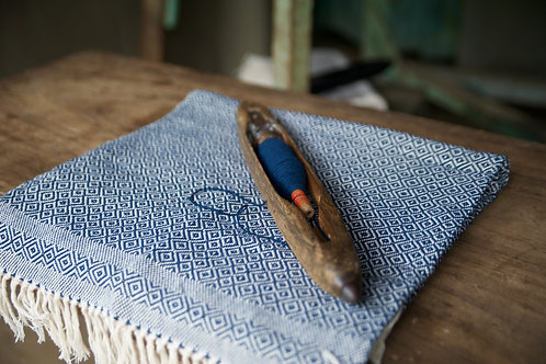 Hand-woven Navy Blue Throw