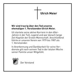 Trauer um Uli Meier