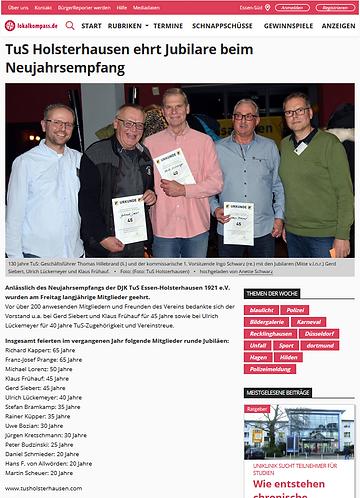 TuS Holsterhausen ehrt langjährige Mitglieder beim Neujahrsempfang