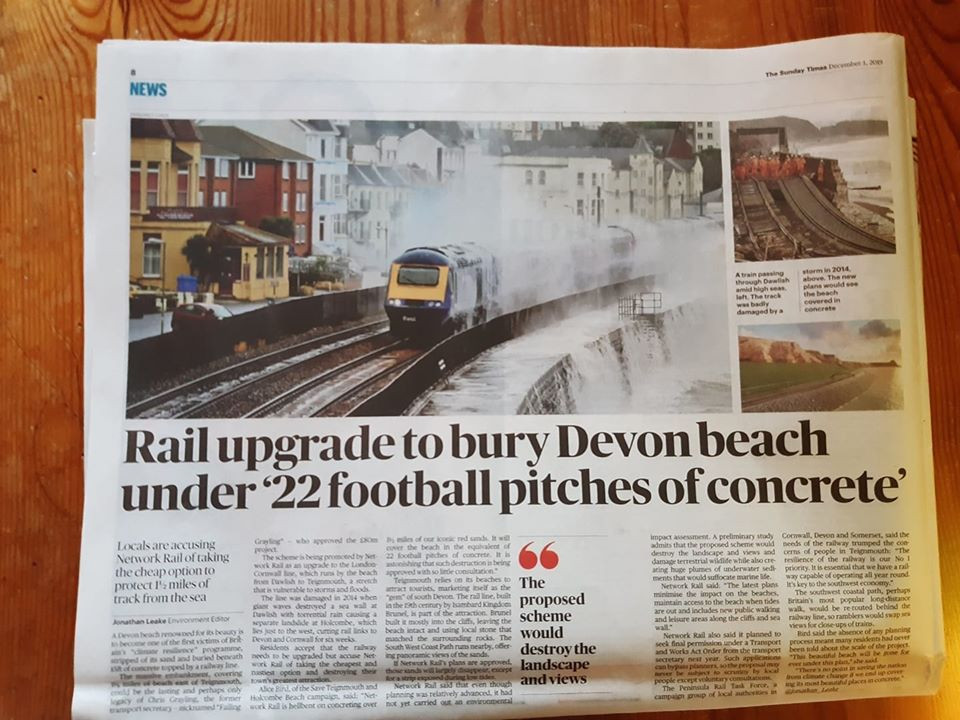 Sunday Times article. Rail upgrade to bury Devon beach under 22 football pitches of concrete