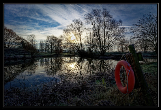 Winter lake sunrise