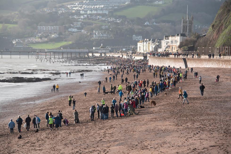 The human chain on Teignmouth Beach