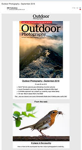 Outdoor Photography Magazine email featuring Naomi Stolow's photography
