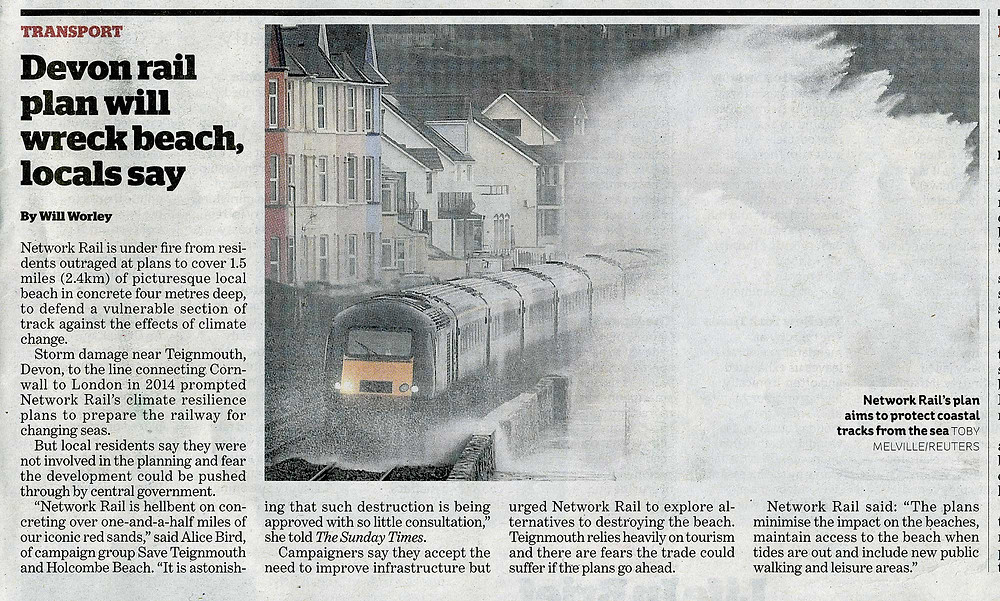 the i article. Rail upgrade to bury Devon beach under 22 football pitches of concrete