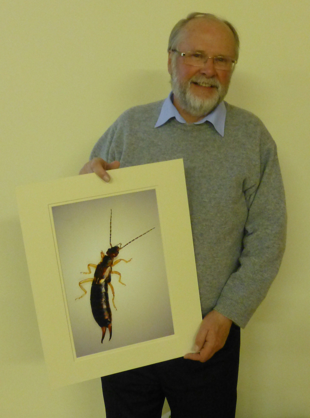 Barry Holmes FRPS with his detailed photograph of an earwig