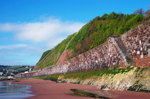 Brunel's sea wall and cliffs