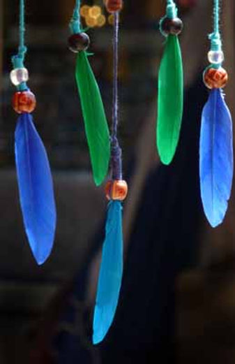 Feathers in a dreamcatcher © Leslie Cooper