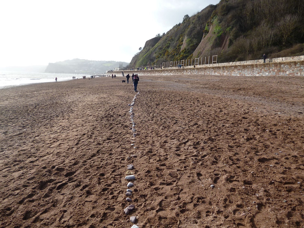 Only pebbles were left after the Human Chain showing line of the new sea wall in pebbles © Hilary Davies