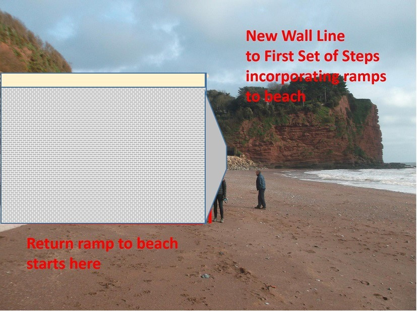 An impression of the what first set of steps from Holcombe would look like from the same position on the beach,  which is roughly where the proposed new return ramps to the beach will end.