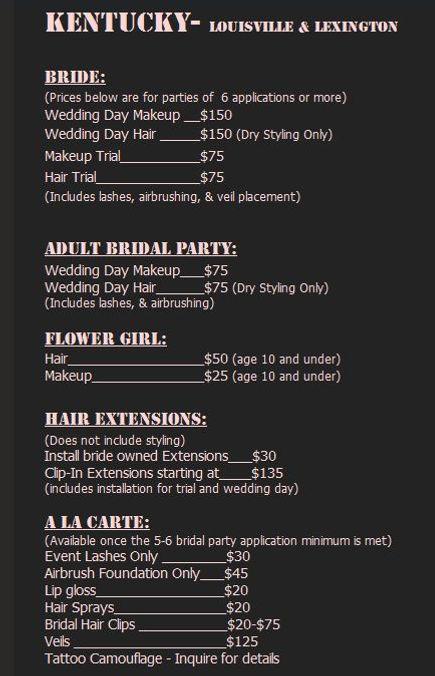 Wedding Makeup and Hair Prices Kentucky