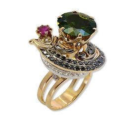 авторское золотое кольцо с турмалином