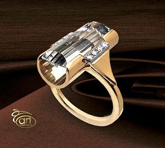 золотое кольцо с натуральными камнями