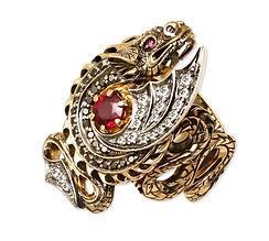 золотое кольцо Дракон с рубином