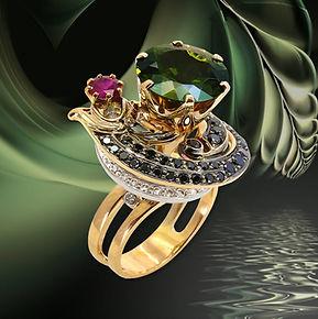 золотое авторское кольцо с турмалином