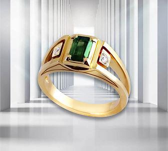 золотое кольцо с зеленым турмалином и бриллиантами