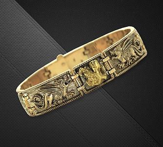 мужской браслет с золотым самородком арт-студия ювелир