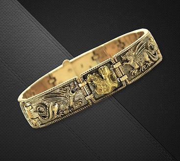 мужской золотой браслет с самородком