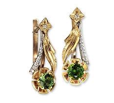 золотые серьги с турмалинами и бриллиантами