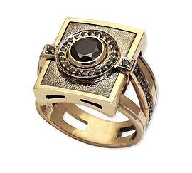 мужской золотой перстень с черными бриллиантами