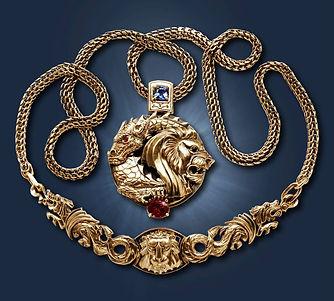 эксклюзивный золотой кулон лев дракон арт-студия ювелир