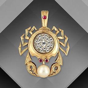 золотой кулон краб арт-студия ювелир